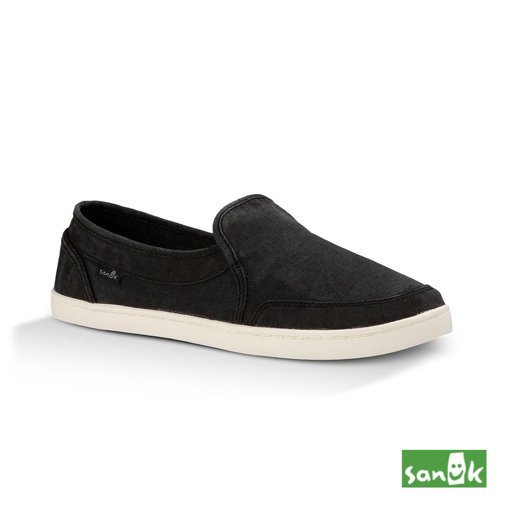 SANUK 復古水洗帆布休閒鞋-女款(黑色)1013816 WSBK