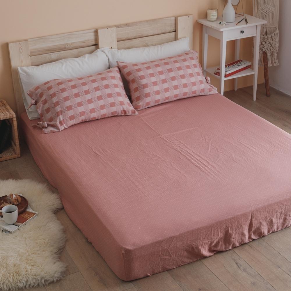 翔仔居家 台灣製 頂級長絨棉 色織雙層紗系列 枕套&床包2件組-野櫻粉 (單人)