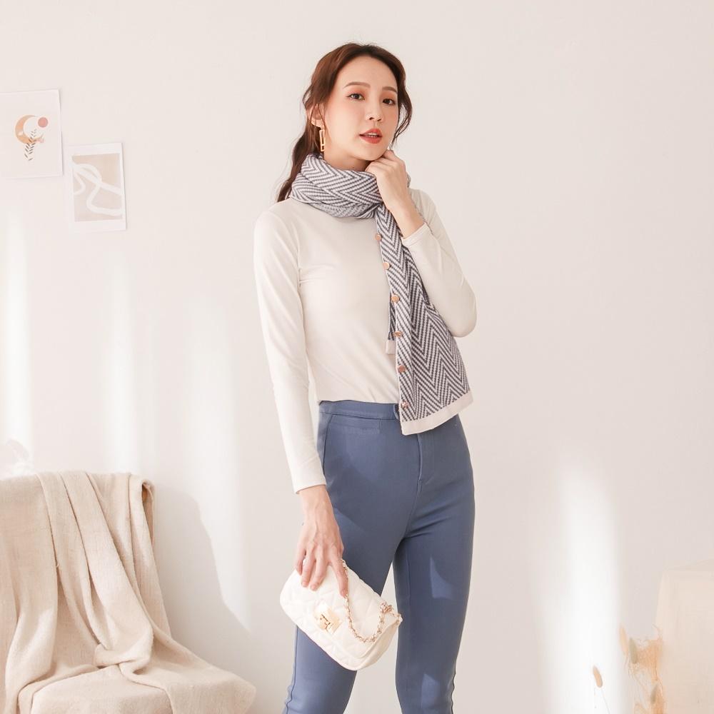 保暖簡約波浪紋理可釦式圍巾/披肩-OB大尺碼
