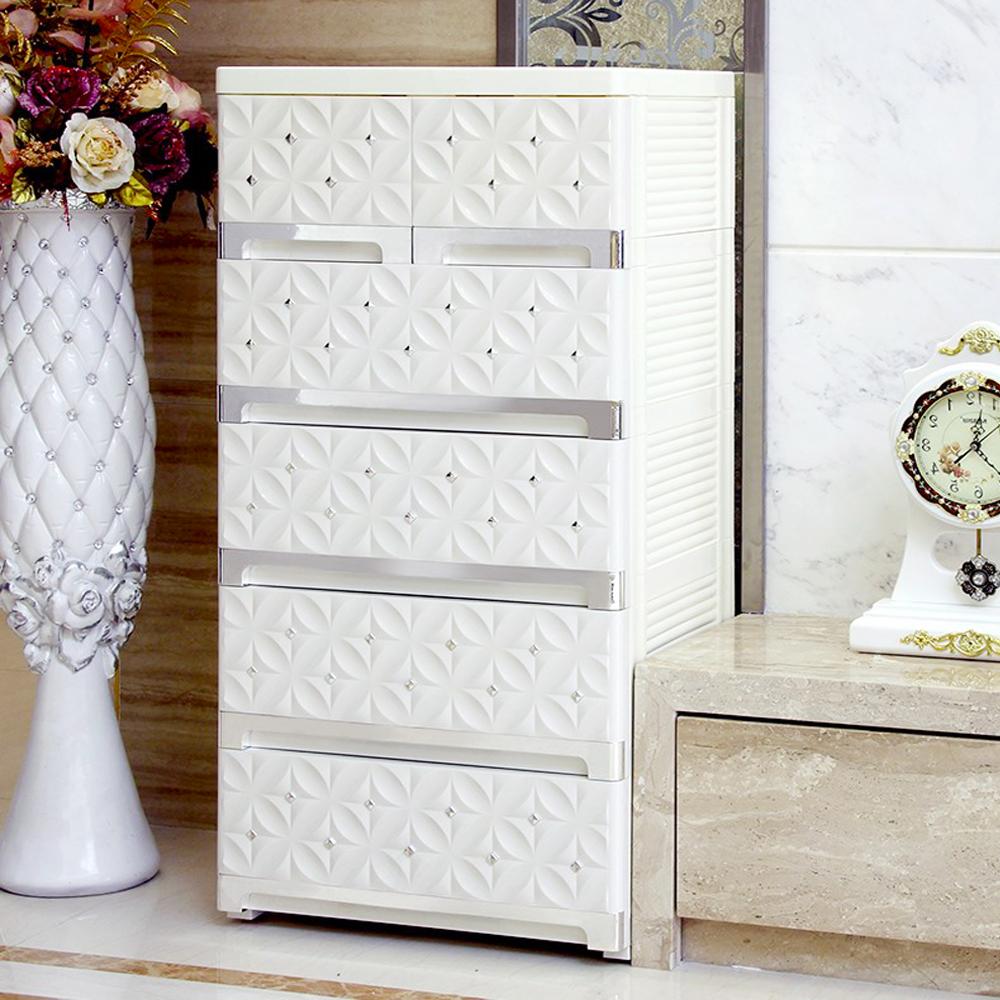 【日居良品】歐式質感立體雕花面板五層抽屜收納櫃-附活動輪