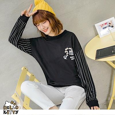 台灣製造~點點KITTY拼接條紋袖長版上衣-OB嚴選