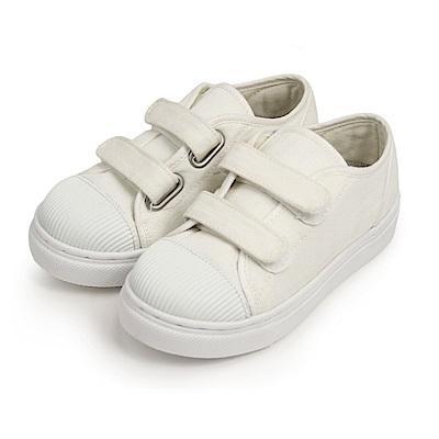 BuyGlasses 魔鬼氈帆布兒童休閒鞋-白