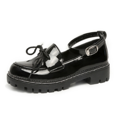 KEITH-WILL時尚鞋館 日系甜美小皮鞋-黑色(亮光款)