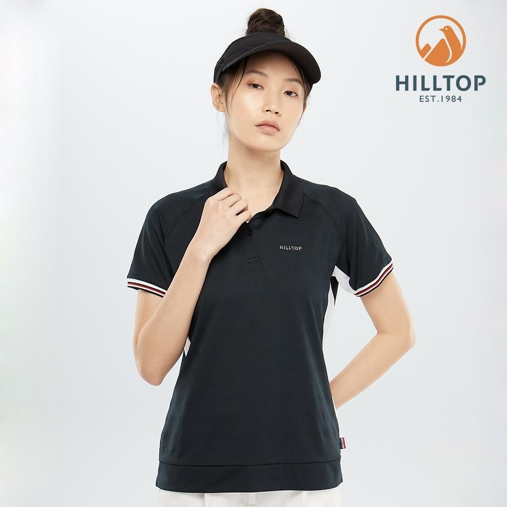 【hilltop山頂鳥】女款吸濕快乾彈性抗菌POLO衫PS14XFG1ECA0魚子醬黑