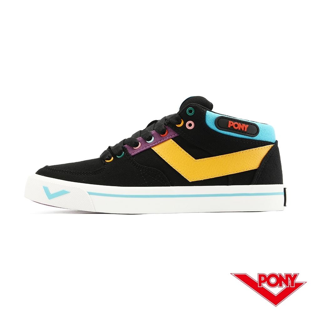 【PONY】ATOP系列 潮流玩色 滑板鞋  板鞋 休閒鞋 女鞋-繽紛黑