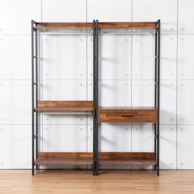 D&T德泰傢俱 格萊斯積層木工業風5.2尺中抽+雙吊多功能衣櫃-160x44x196cm