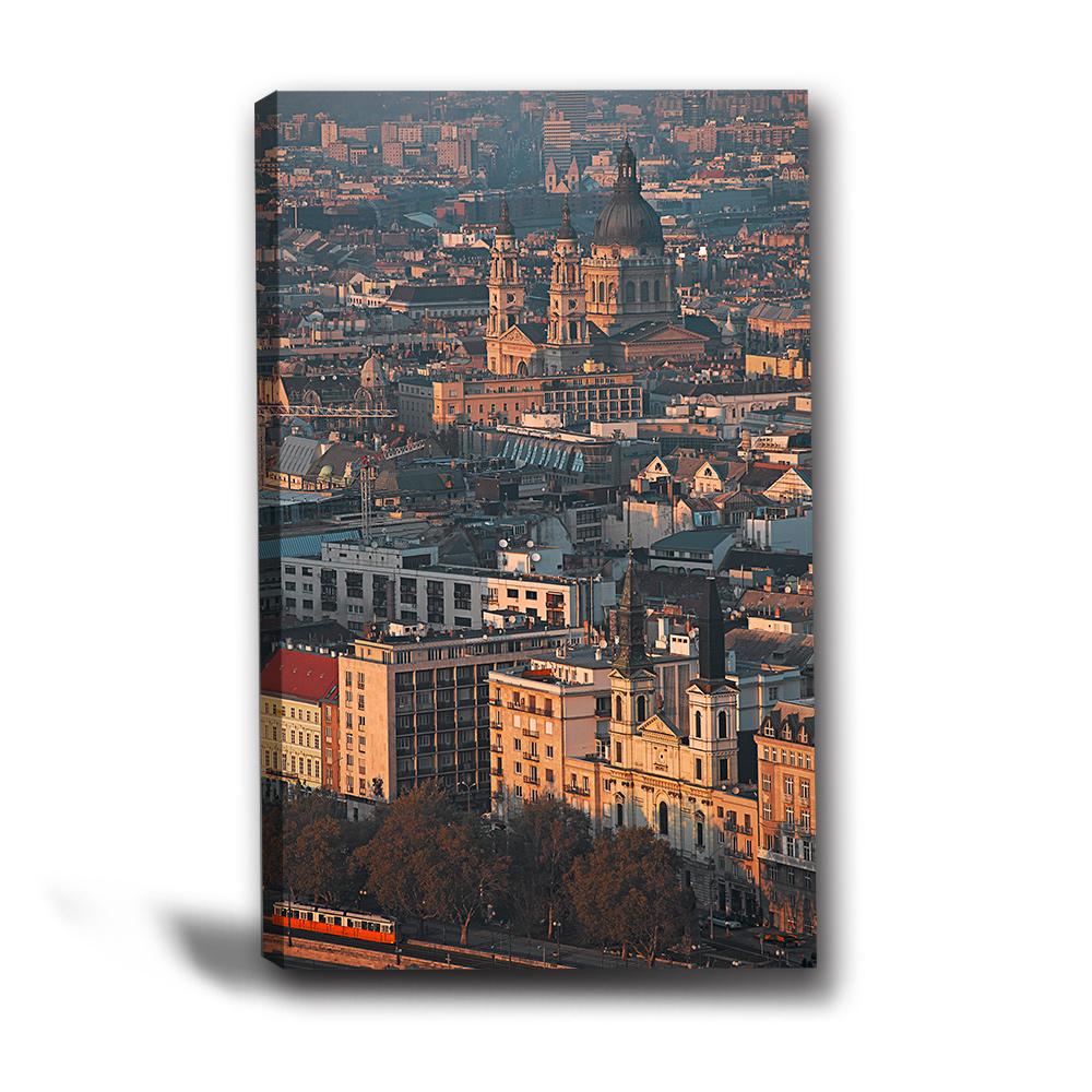 24mama掛畫-單聯式直幅 掛畫無框畫 遠眺城市-40x60cm