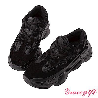 Grace gift-異材質拼接厚底休閒鞋 黑