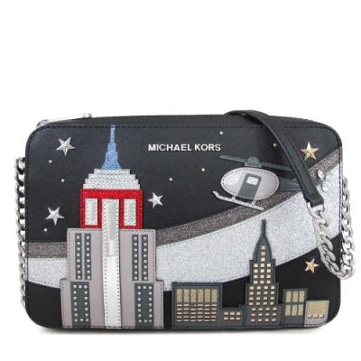 MICHAEL KORS Jet Set Item銀字Logo城市系列紐約圖騰斜背方包(黑色)