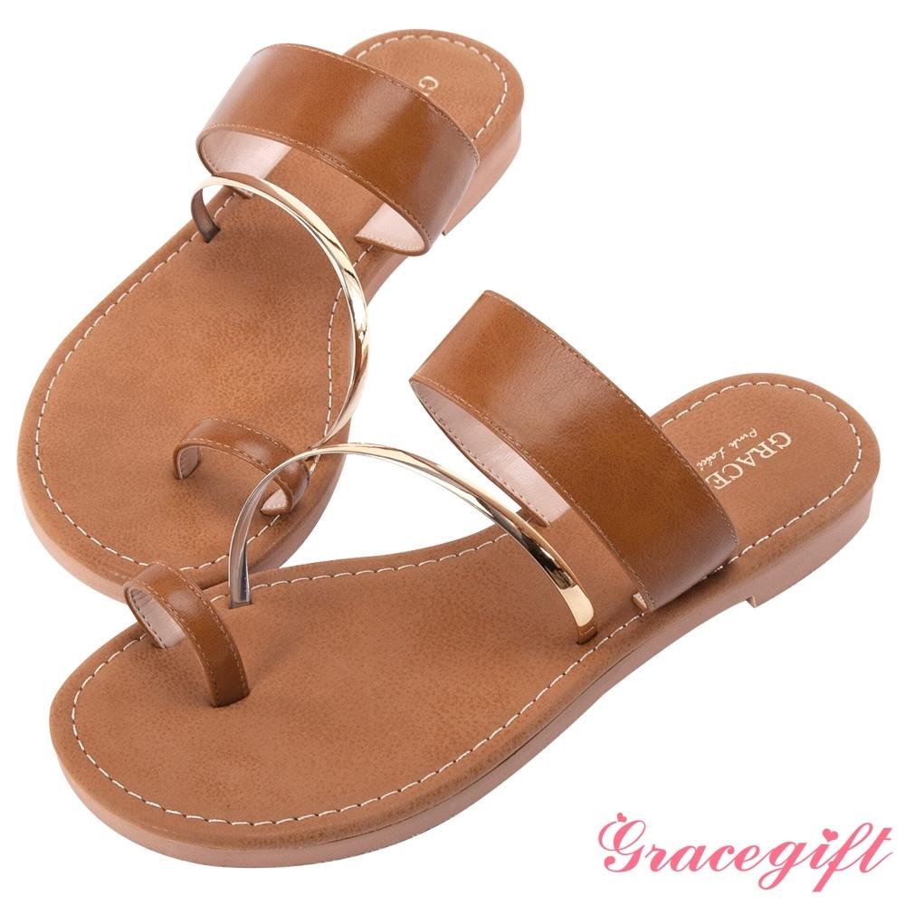 Grace gift-一字金屬套趾涼拖鞋 棕