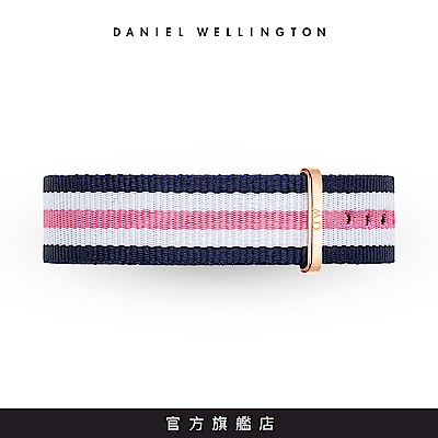 DW 錶帶 18mm金扣 活潑藍粉織紋錶帶