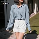 MERONGSHOP 質感多色基礎日常不易皺口袋襯衫(共四色)