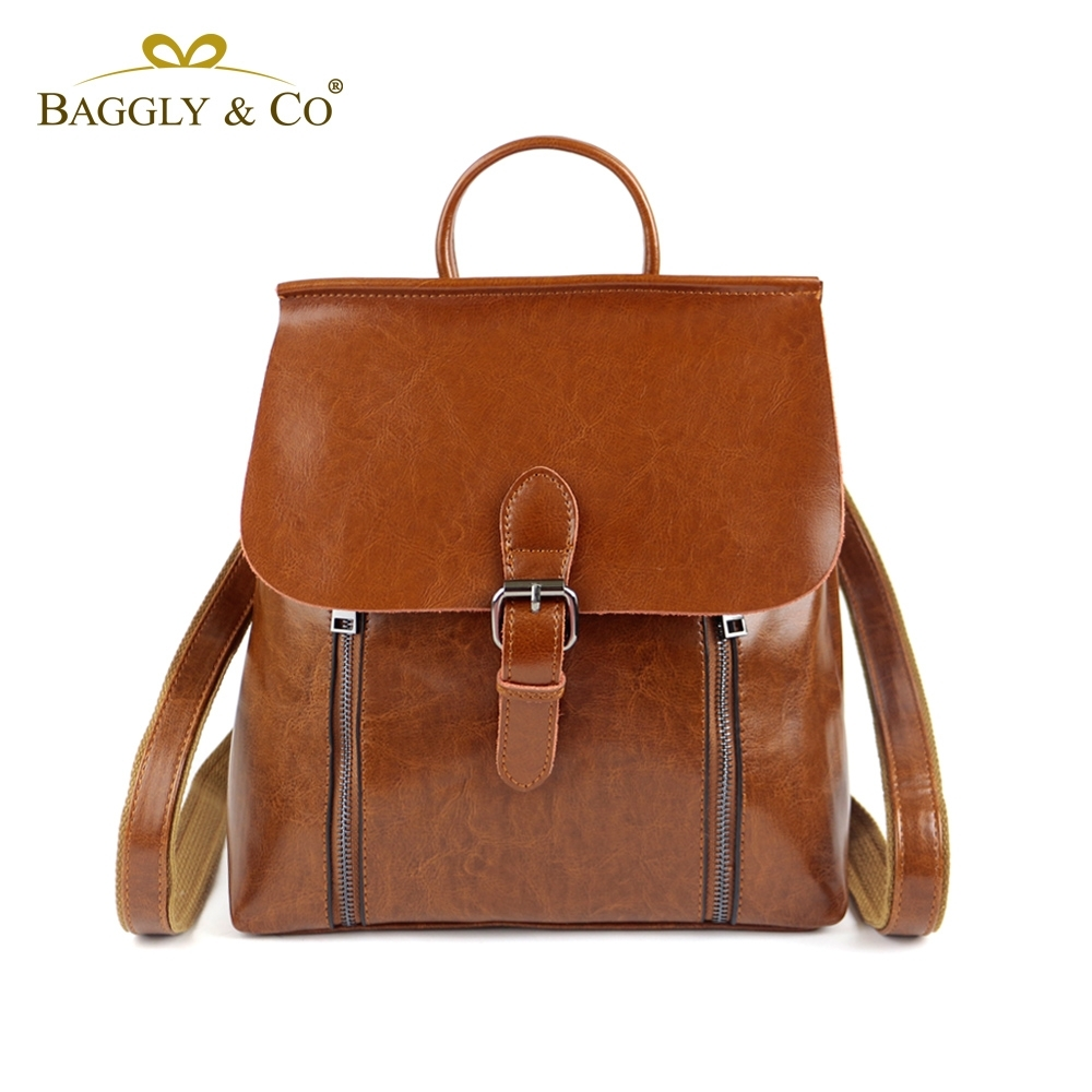 【BAGGLY&CO】清新文藝真皮二用後背包(棕色)