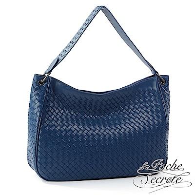 La Poche Secrete肩背包 編織小羊皮2WAY肩背側背包-爵士藍