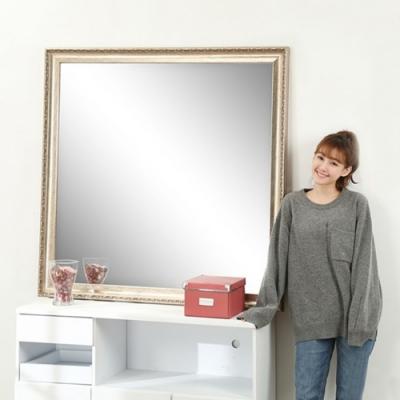 佳美 歐式宮廷風浮雕框穿衣鏡(1入,W120xH120)玄關鏡 穿衣鏡 化妝鏡