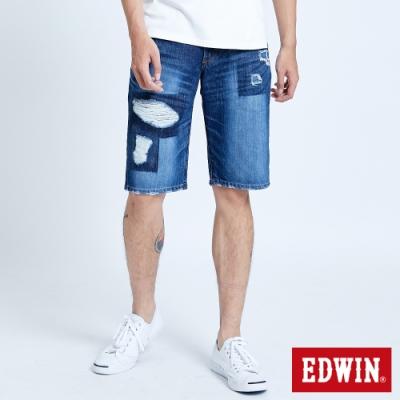 EDWIN 503 五袋式破壞加工 牛仔短褲-男-中古藍