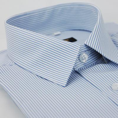 金‧安德森 藍色條紋吸排窄版長袖襯衫fast