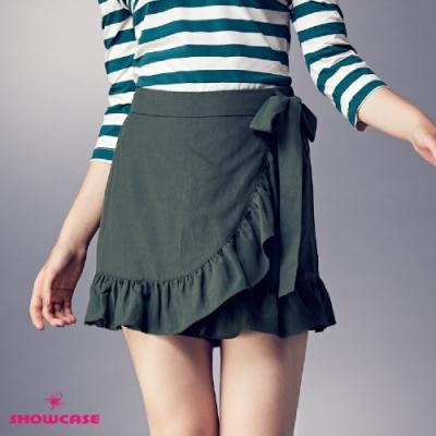 【SHOWCASE】荷葉腰綁帶褲裙-綠
