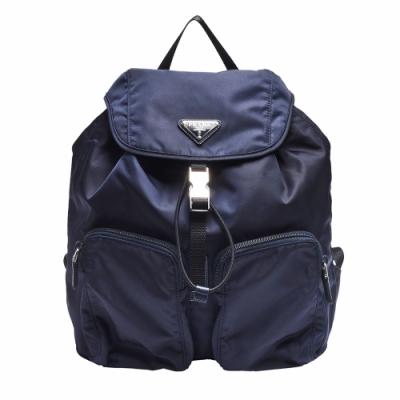 PRADA TESSUTO經典三角LOGO尼龍束口雙口袋造型後背包(藍)
