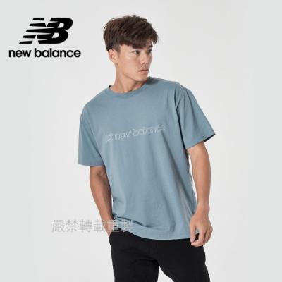 【New Balance】正面品牌短袖T_男性_藍灰_AMT11559CYC