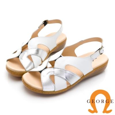 GEORGE 喬治皮鞋 金屬風寬版繞帶真皮氣墊涼鞋 -白