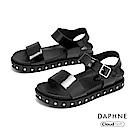達芙妮DAPHNE 涼鞋-漆皮鉚釘一字帶舒軟厚底涼鞋-黑色