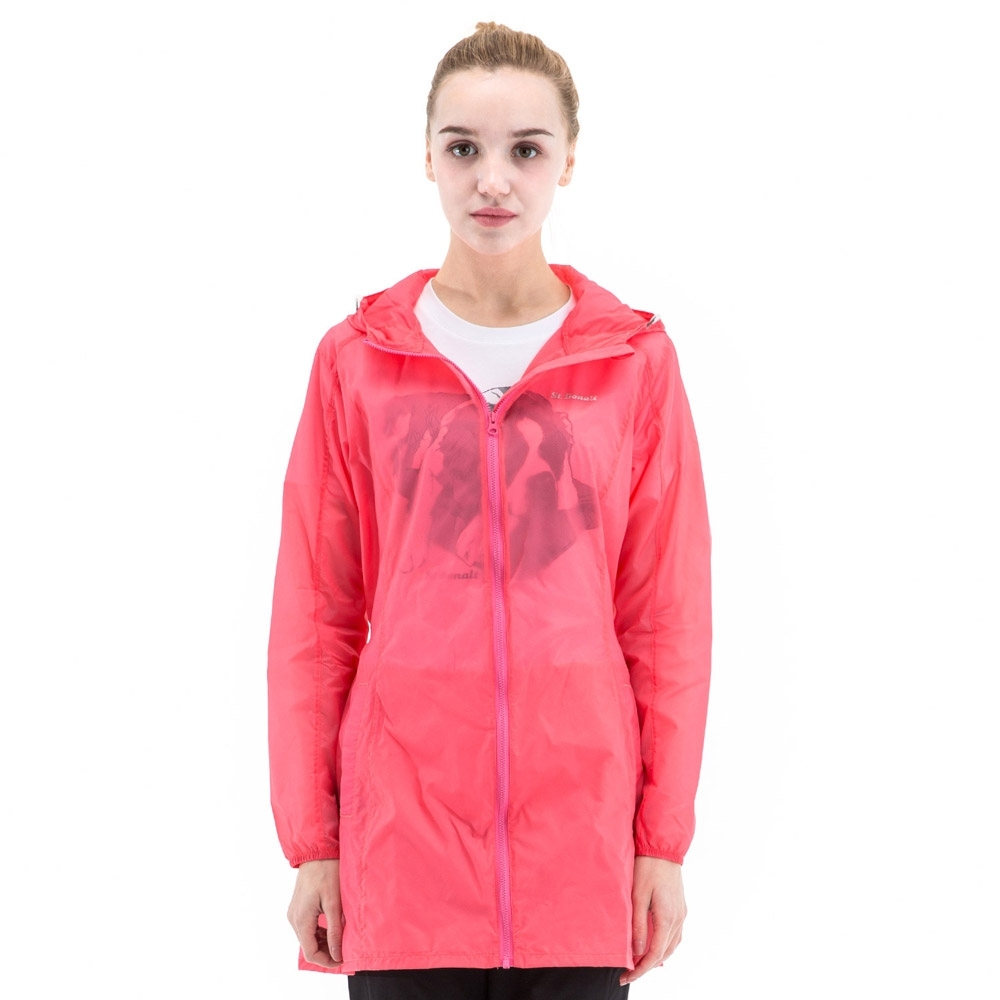 【St. Bonalt 聖伯納】女款單色超輕透長版防曬外套 (8031-粉紅) 抗UV 防曬 防風 防潑水 輕薄 透氣