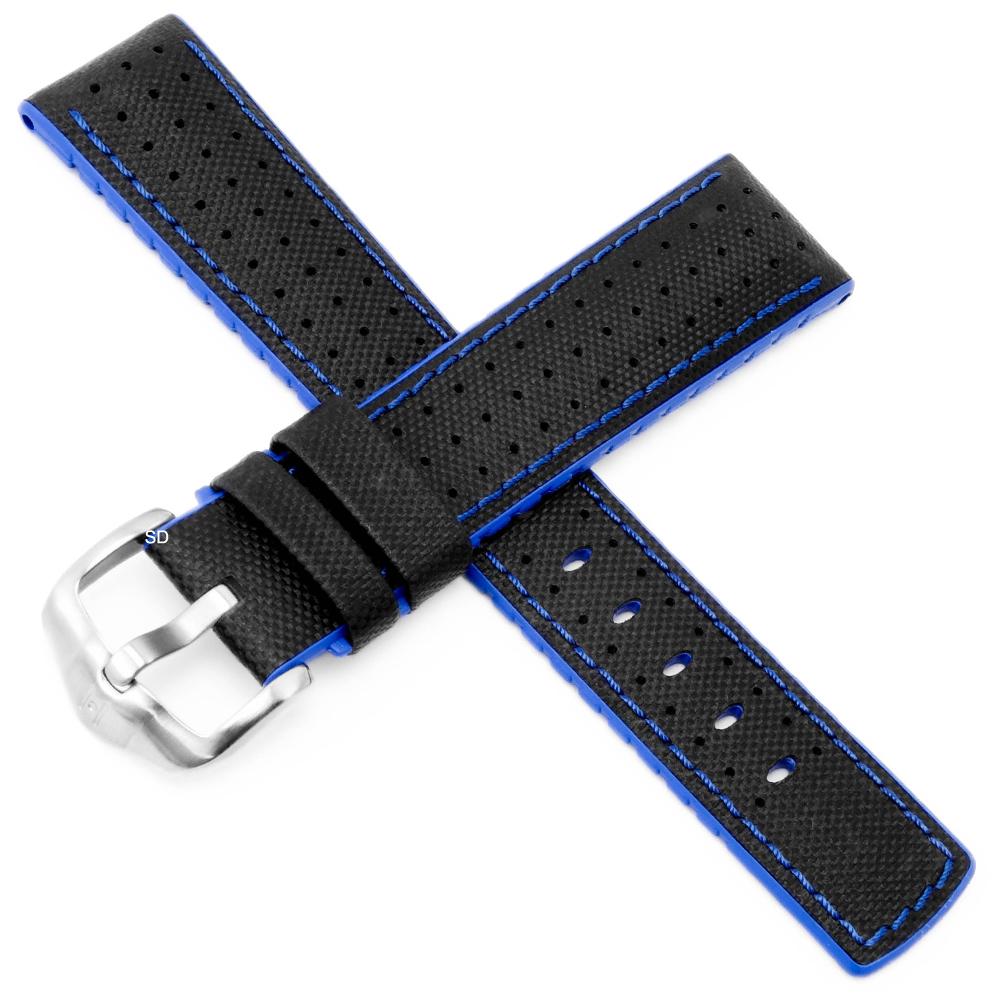 海奕施 HIRSCH Robby L橡膠複合小牛皮錶帶-黑藍