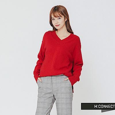 H:CONNECT 韓國品牌 女裝-側開岔V領針織上衣-紅