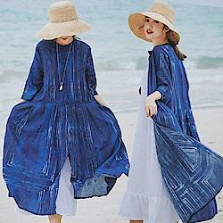 亞麻防曬衫風衣苧麻外套-設計所在