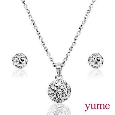 YUME 華麗滿鑽項鍊套組(項鍊+耳環)