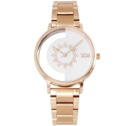 NATURALLY JOJO 閃耀晶鑽鏤空時尚手錶-白X玫瑰金/34mm