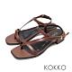KOKKO時髦方頭小牛皮線條夾腳繫帶粗跟涼鞋咖色 product thumbnail 1