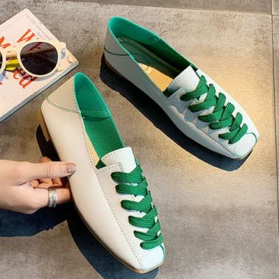 KEITH-WILL時尚鞋館 單色潮流綁帶平底鞋-綠色