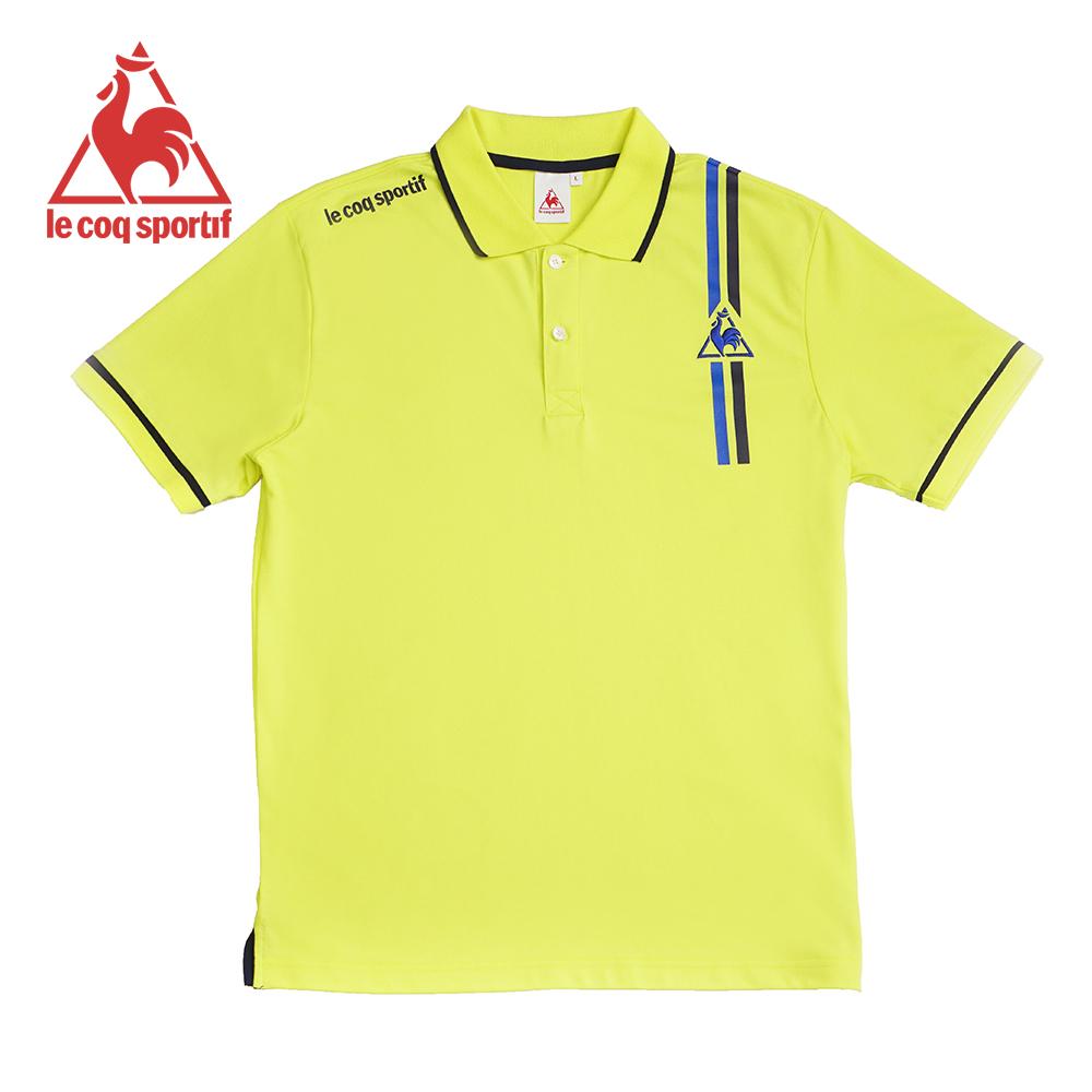 le coq sportif 法國公雞牌雙色線條印花短袖POLO衫 男-黃
