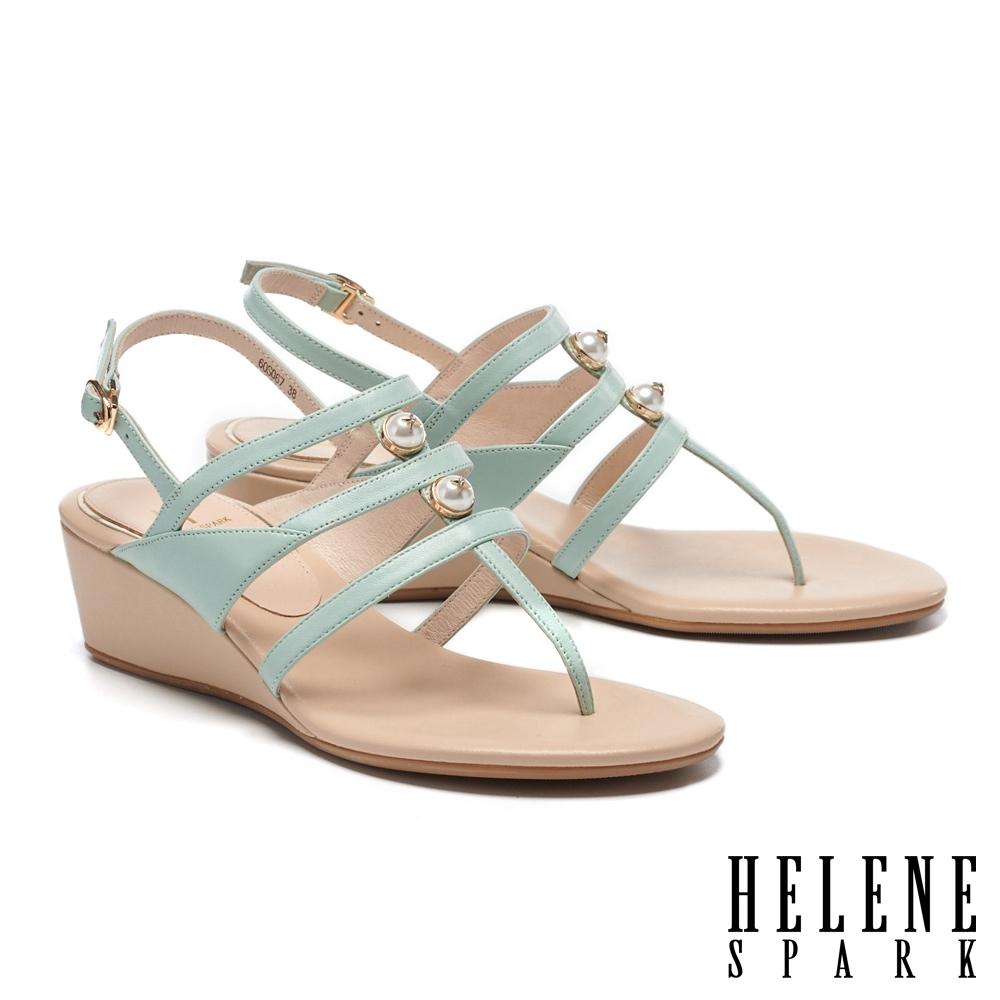 涼鞋 HELENE SPARK 高雅別致星鑽珍珠王字條帶楔型高跟夾腳涼鞋-綠