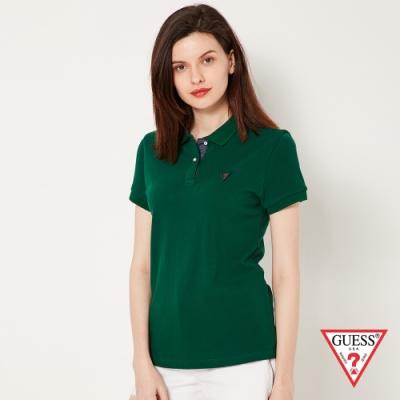 GUESS-女裝-刺繡問號LOGO短袖POLO衫-綠