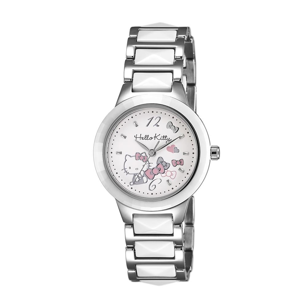 HELLO KITTY 凱蒂貓 甜美簡約陶瓷手錶-白x白銀/32mm @ Y!購物