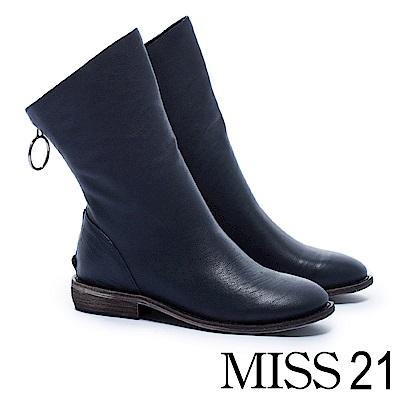 中筒靴 MISS 21 百搭率性街頭風全真皮中筒木紋低跟靴-藍
