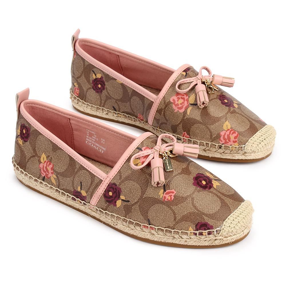 COACH 經典滿版LOGO小花圖案防水皮革編織休閒漁夫鞋(7B)-咖啡/粉紅COACH