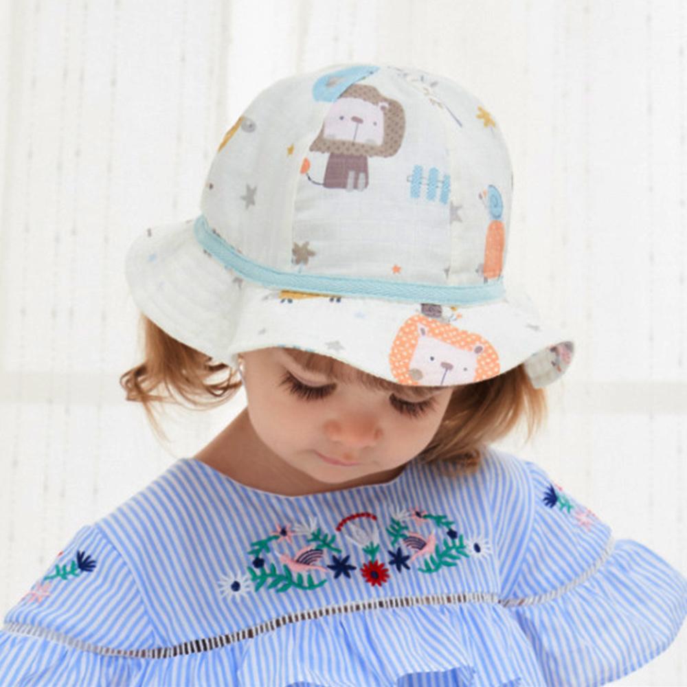 歐美原創設計-女童卡通Q版紗布棉公主盆帽