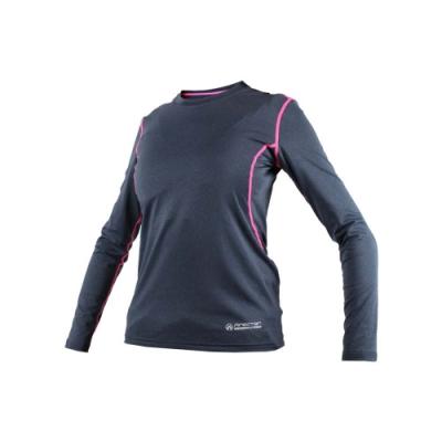 FIRESTAR 女機能緊身長袖-T恤 長T 健身 瑜珈 深灰螢光粉
