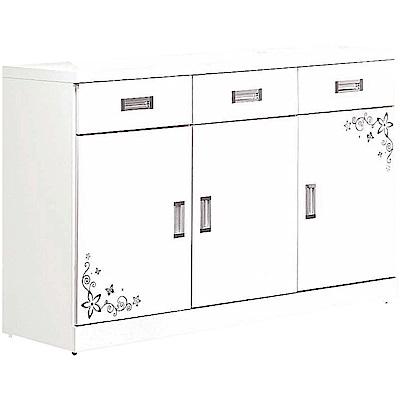 綠活居 奧可時尚4尺花漾餐櫃/收納櫃(二色可選)-120x45x84cm免組