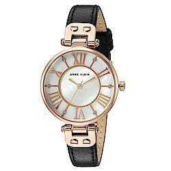 Anne Klein 逸品貝殼霓光羅馬時標小牛皮腕錶-白珍珠母貝x30mm