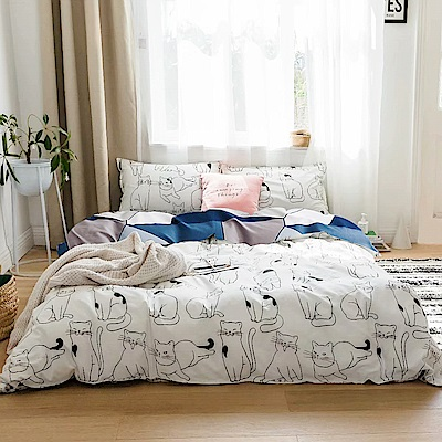 A-one 雪紡棉 單人床包/雙人薄被套 三件組 貓星人