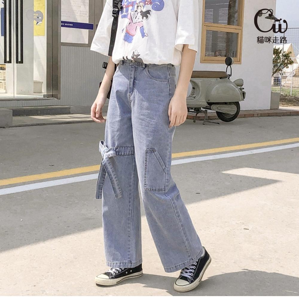 [CW.貓咪走路]個性女孩蝴蝶結牛仔寬褲(KDP-11037) (牛仔藍)