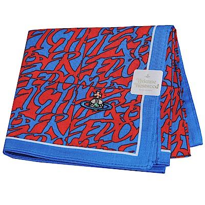 VIVIENNE WESTWOOD 幾何繽紛字母彩色行星LOGO刺繡帕領巾(寶藍底)