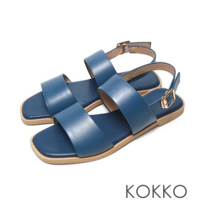 KOKKO時髦方頭一字帶柔軟羊皮平底後帶涼鞋藍色