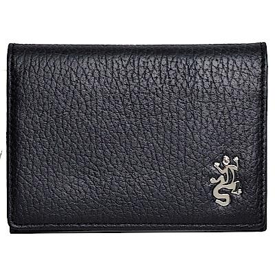 agnes b.經典品牌蜥蜴LOGO圖騰荔枝壓紋卡片/名片夾(黑)