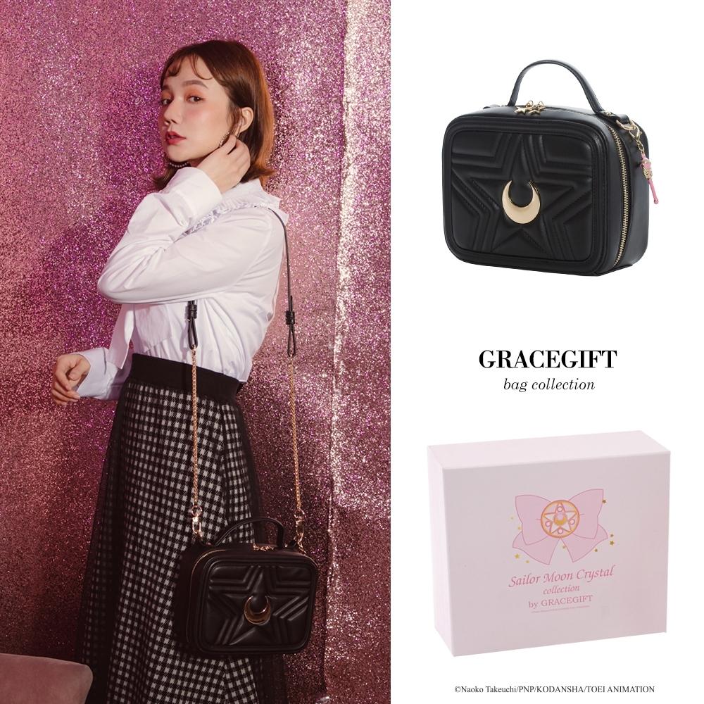 Grace gift-美戰彎月手提側背方包 黑